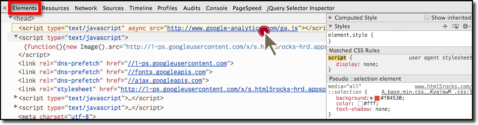 Click Script Links in the Elements Tab